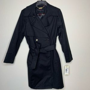 NWT Trina Turk Black Water Repellent Trench Coat